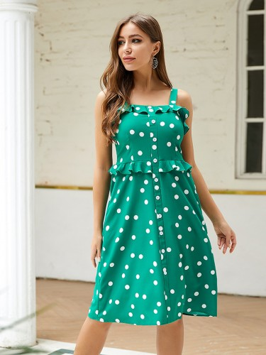 loose-fitting-green-polka-dot-sling-midi-dress