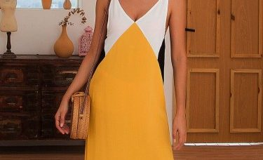 noticeable-slit-open-back-yellow-color-matching-midi-dress